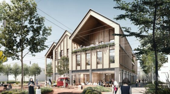wooden office building