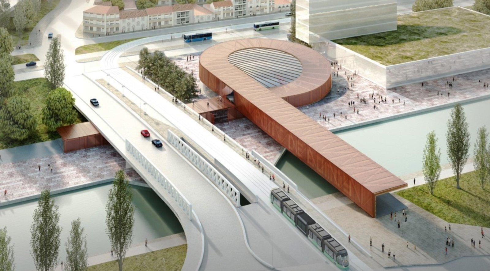 the new Pont de Bondy metro station in Paris
