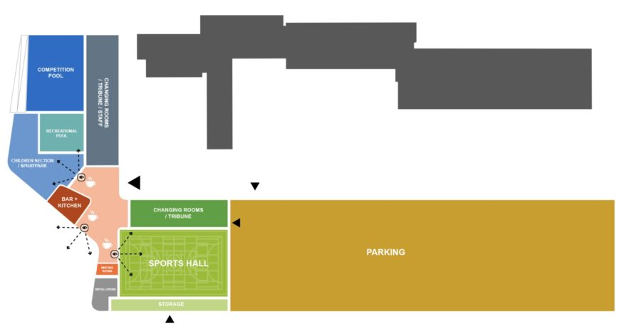 Landscaped sports building