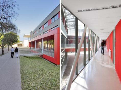 Main reception building of the Leonard de Vinci high school