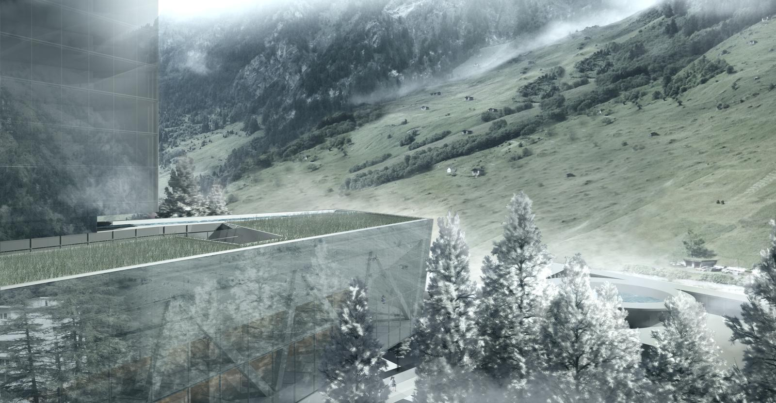 New 7132 hotel and arrival vals switzerland by morphosis for Design hotel vals
