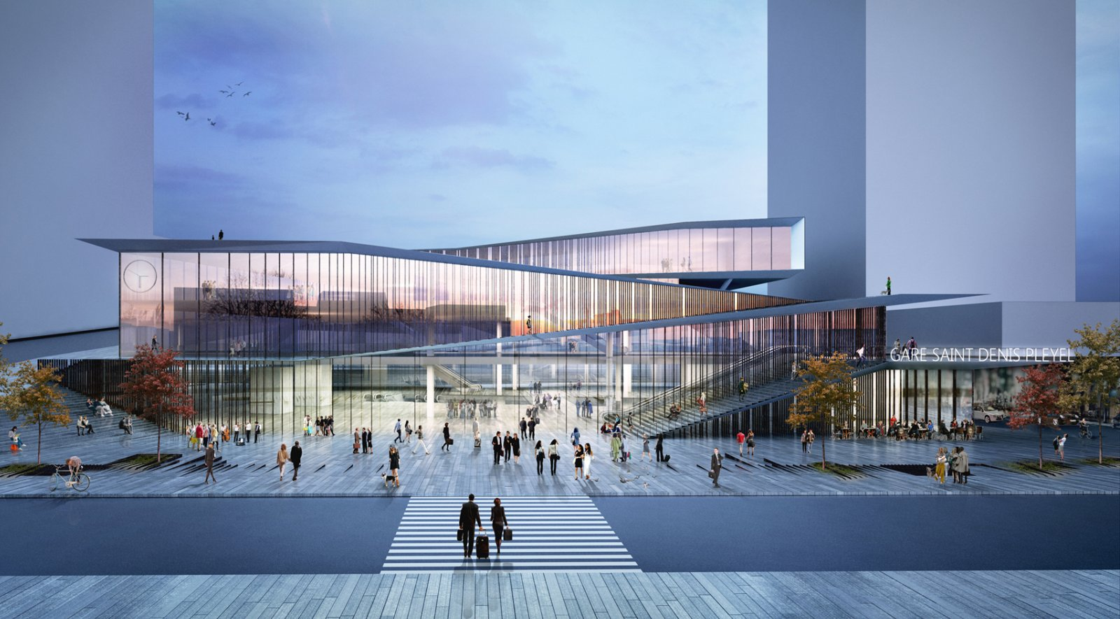 Saint denis pleyel emblematic train station by kengo kuma for Architecture 00