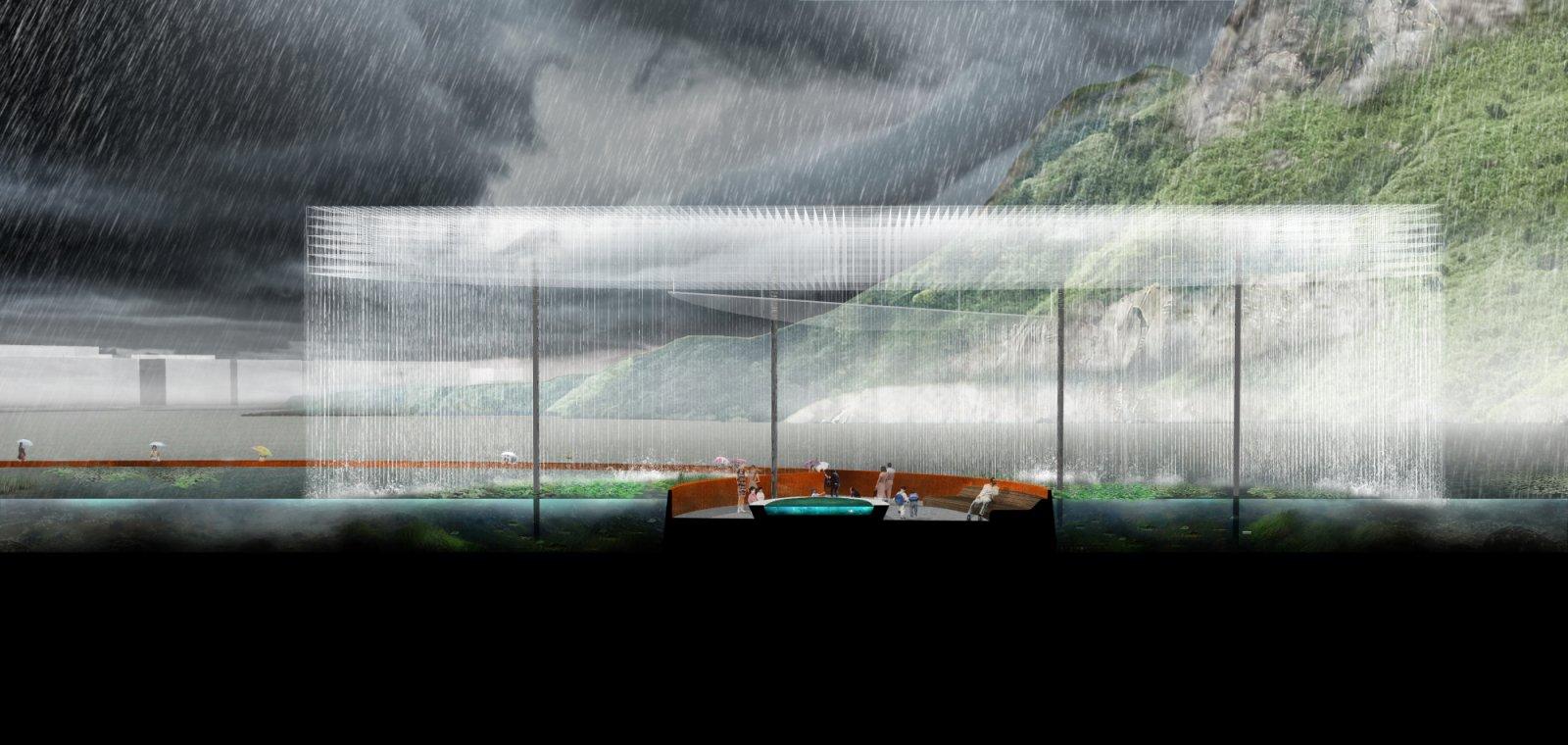 Rain Fountain section drawing