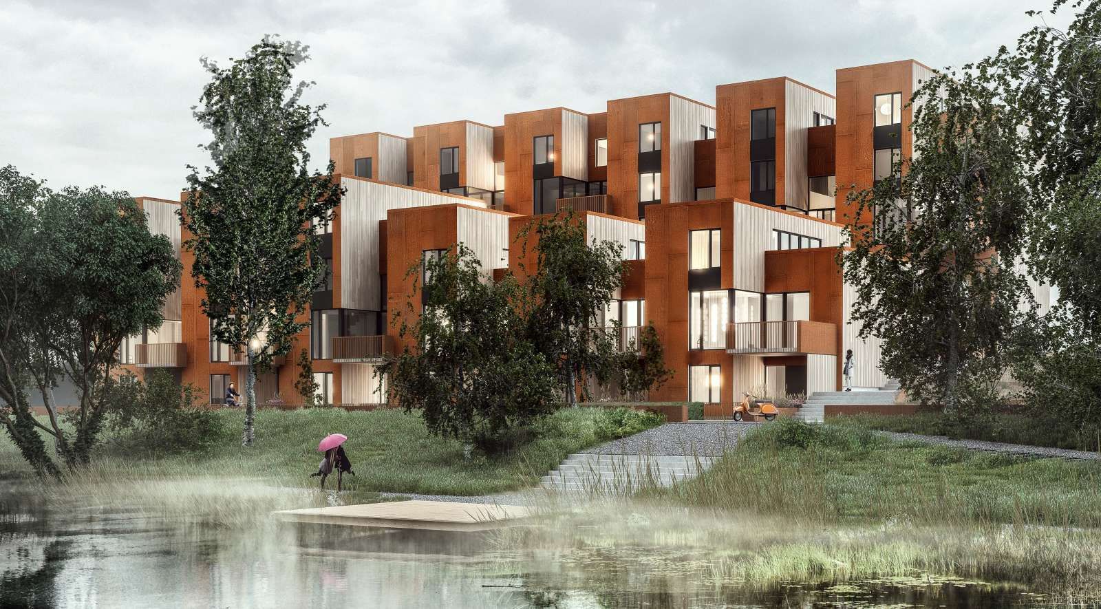 Zenhusen sustainable town houses by c f m ller architects for Architecture design for home in village