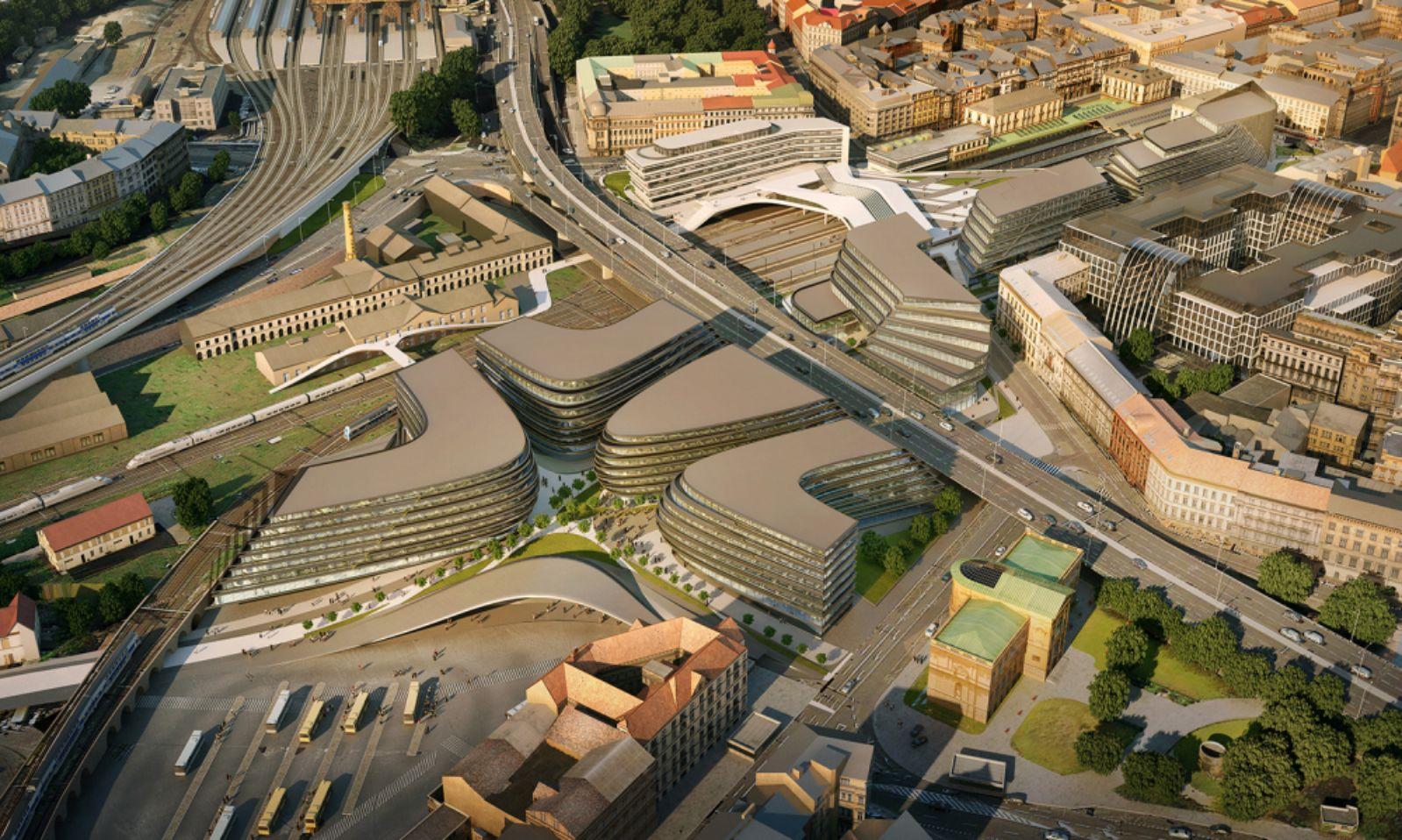 regenerate site adjacent to Masaryk Railway Station Prague